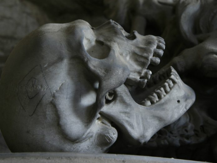 A Bank employee found in a cemetery in Ropsha bag of bones and skulls