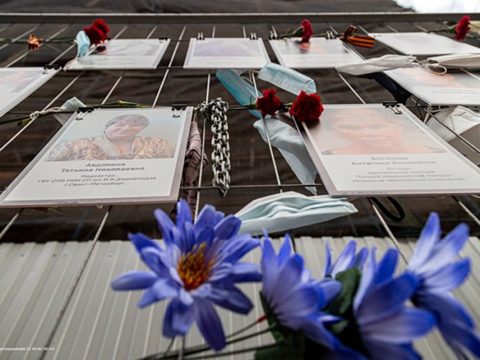 A temporary memorial to fallen medics will be replaced by a constant