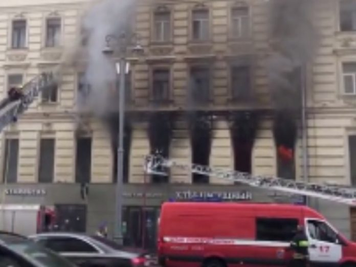 A fire in a historic house on Tverskaya eliminated