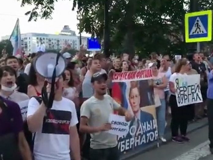 Degtyarev first came out to the protesters in Khabarovsk