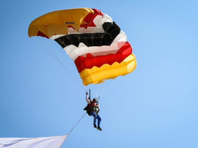 In Germany military parachutists USA came in the storm and broke a bunch of bones