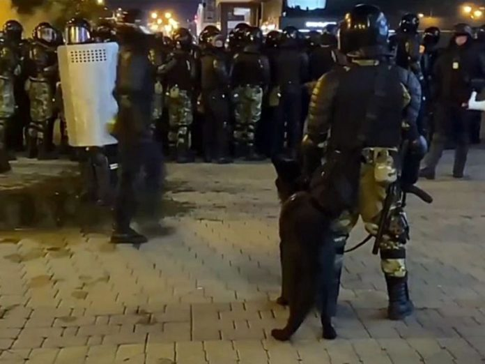 During the clashes in Minsk killed protester